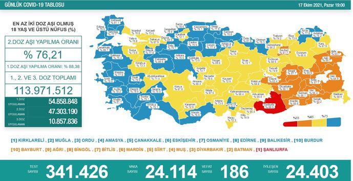 Koronavirüs salgınında yeni vaka sayısı 24 bin 114