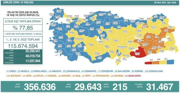 Koronavirüs salgınında yeni vaka sayısı 29 bin 643